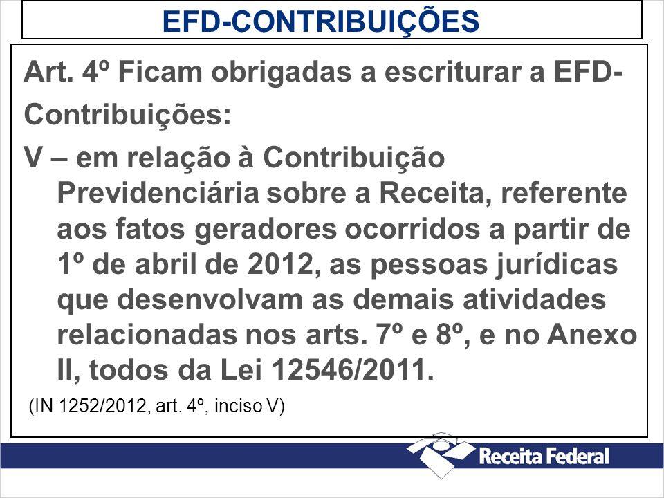 Art. 4º Ficam obrigadas a escriturar a EFD- Contribuições: