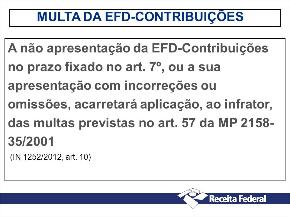 MULTA DA EFD-CONTRIBUIÇÕES