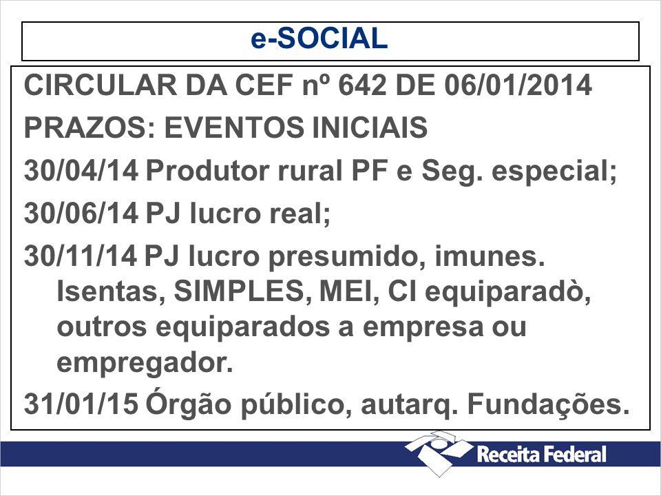 e-SOCIAL CIRCULAR DA CEF nº 642 DE 06/01/2014. PRAZOS: EVENTOS INICIAIS. 30/04/14 Produtor rural PF e Seg. especial;