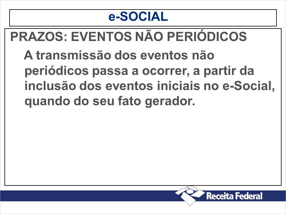 e-SOCIAL PRAZOS: EVENTOS NÃO PERIÓDICOS.