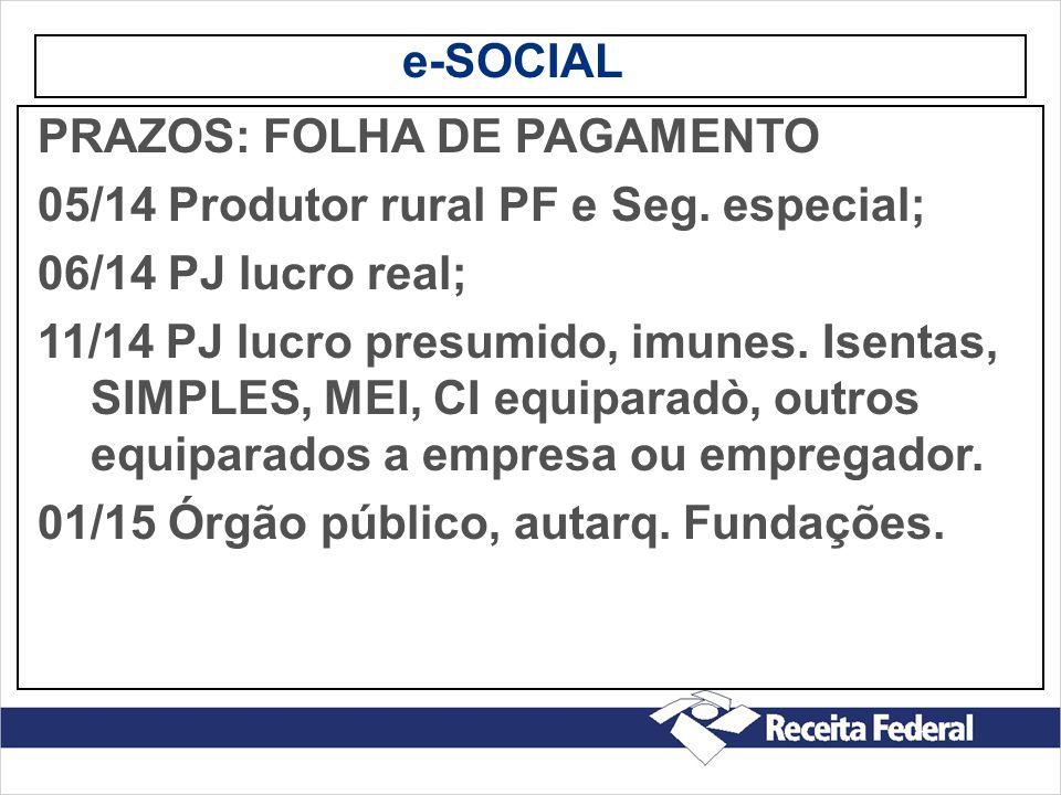e-SOCIAL PRAZOS: FOLHA DE PAGAMENTO. 05/14 Produtor rural PF e Seg. especial; 06/14 PJ lucro real;
