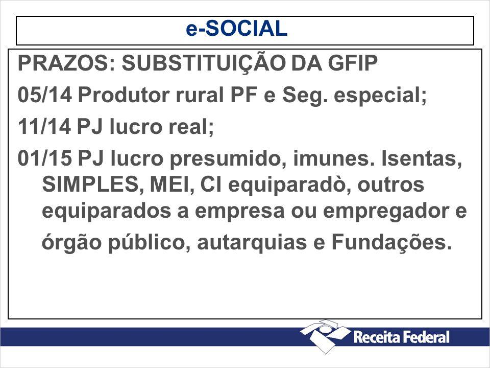 e-SOCIAL PRAZOS: SUBSTITUIÇÃO DA GFIP. 05/14 Produtor rural PF e Seg. especial; 11/14 PJ lucro real;