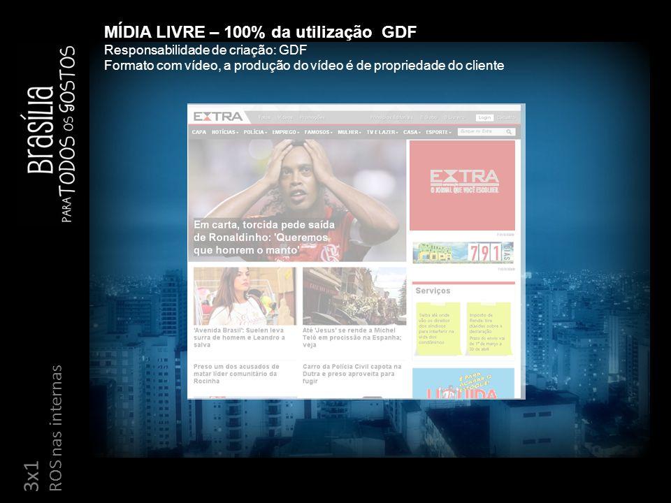 3x1 ROS nas internas MÍDIA LIVRE – 100% da utilização GDF