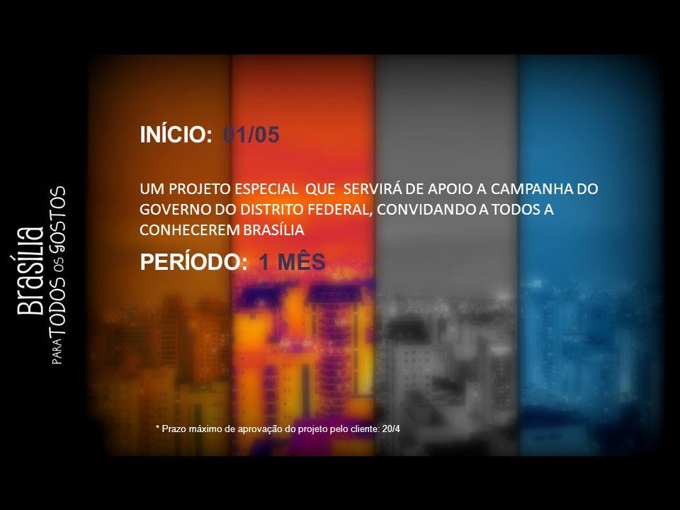 INÍCIO: 01/05 UM PROJETO ESPECIAL QUE SERVIRÁ DE APOIO A CAMPANHA DO GOVERNO DO DISTRITO FEDERAL, CONVIDANDO A TODOS A CONHECEREM BRASÍLIA.