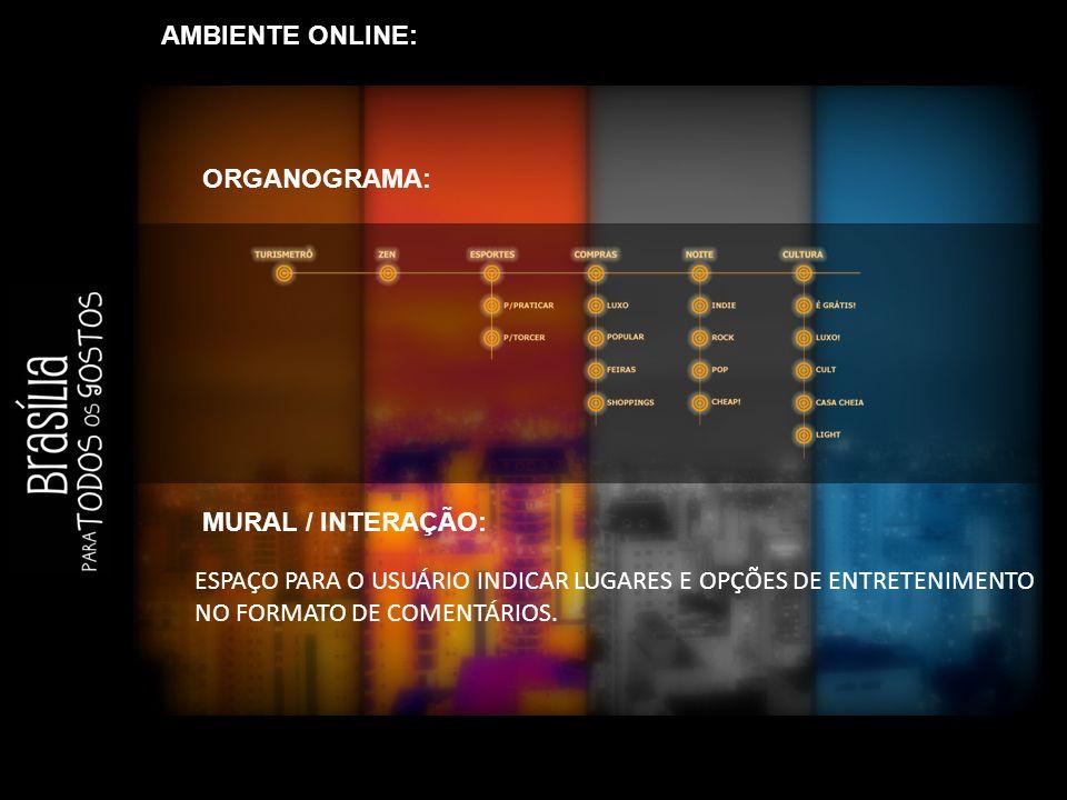 AMBIENTE ONLINE: ORGANOGRAMA: MURAL / INTERAÇÃO: ESPAÇO PARA O USUÁRIO INDICAR LUGARES E OPÇÕES DE ENTRETENIMENTO NO FORMATO DE COMENTÁRIOS.