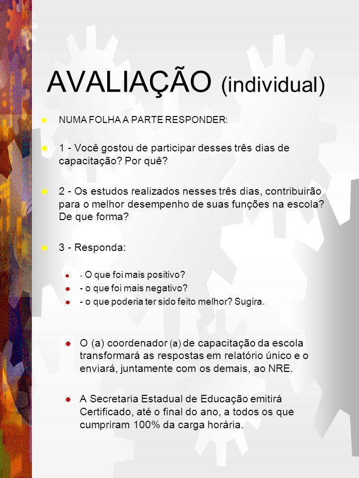 AVALIAÇÃO (individual)