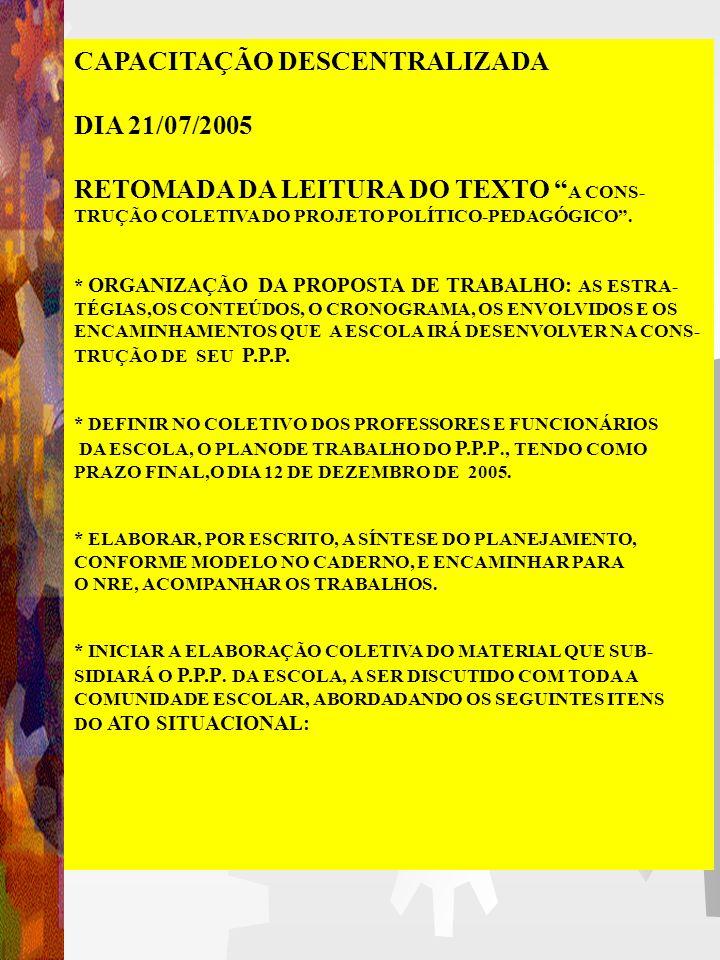 CAPACITAÇÃO DESCENTRALIZADA DIA 21/07/2005