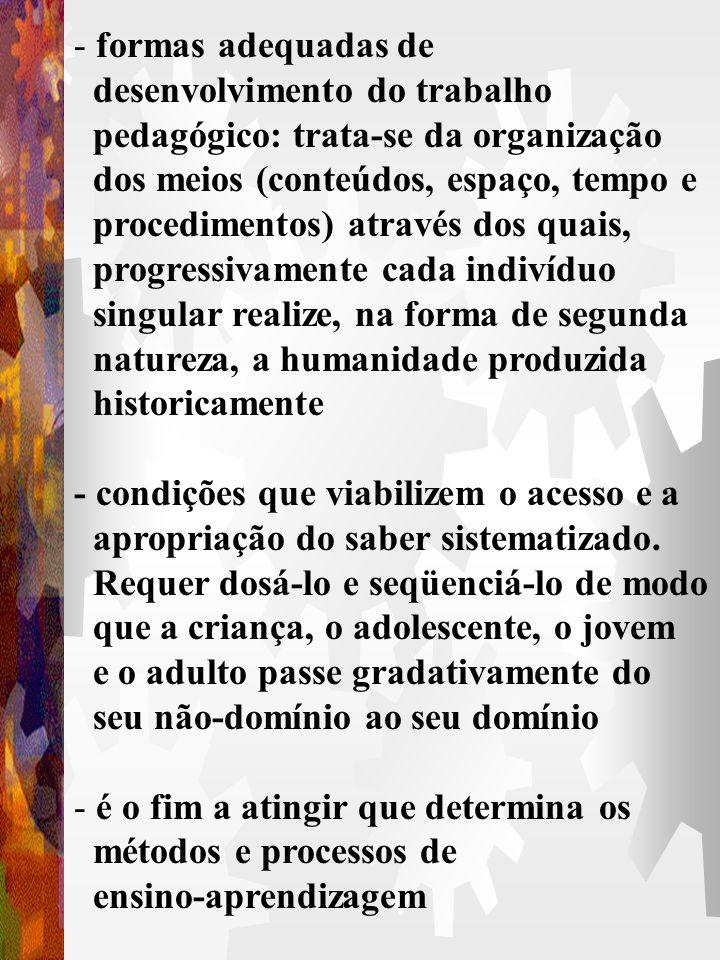 formas adequadas de desenvolvimento do trabalho. pedagógico: trata-se da organização. dos meios (conteúdos, espaço, tempo e.