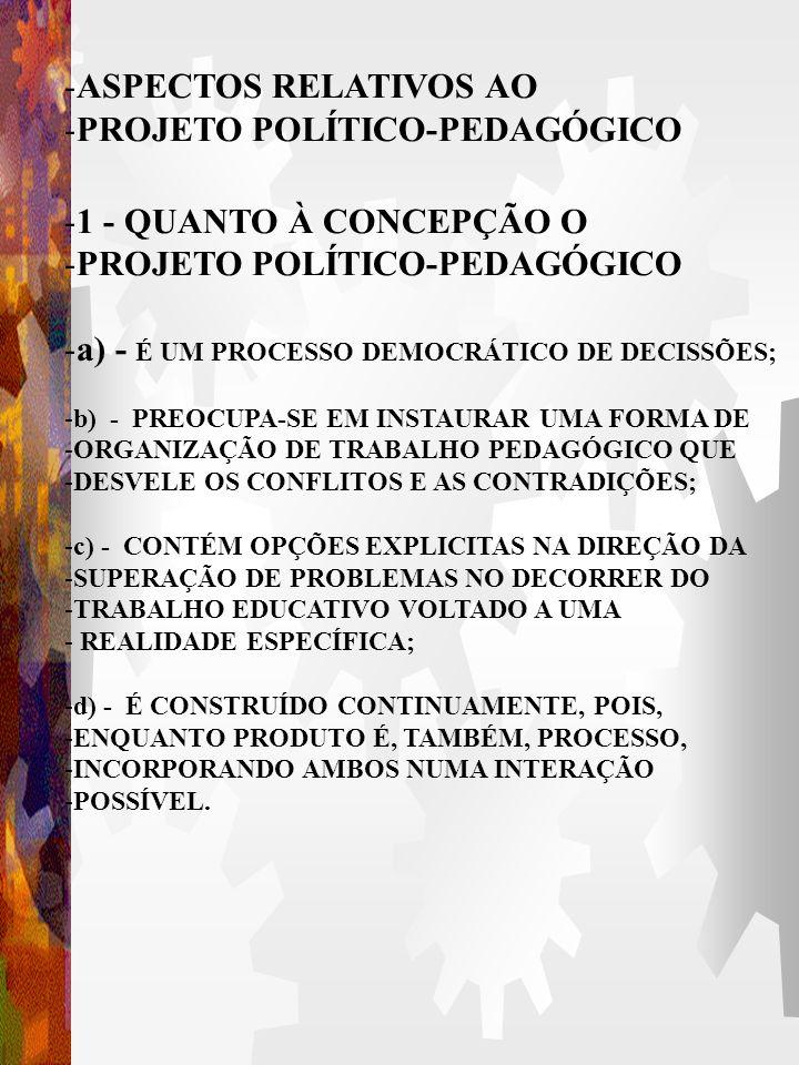 PROJETO POLÍTICO-PEDAGÓGICO 1 - QUANTO À CONCEPÇÃO O