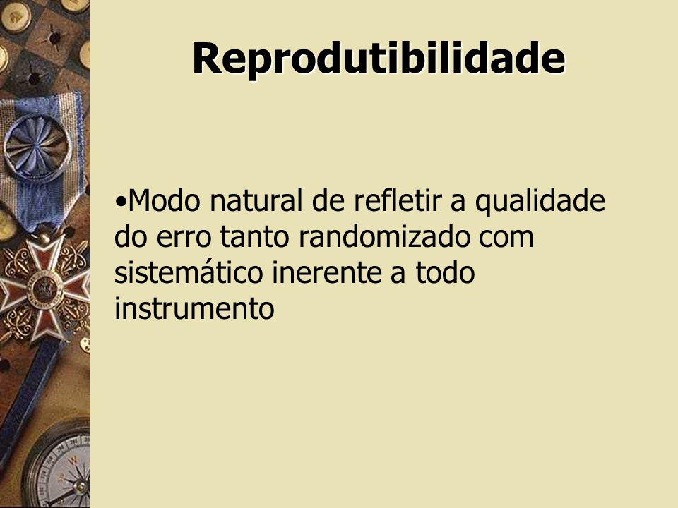 Reprodutibilidade Modo natural de refletir a qualidade do erro tanto randomizado com sistemático inerente a todo instrumento.
