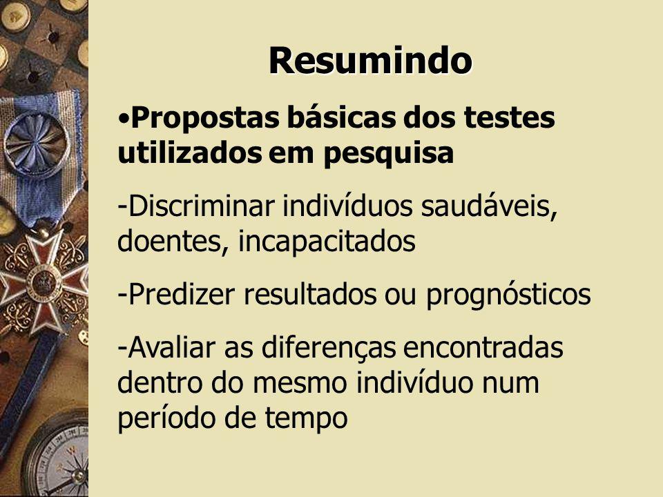 Resumindo Propostas básicas dos testes utilizados em pesquisa