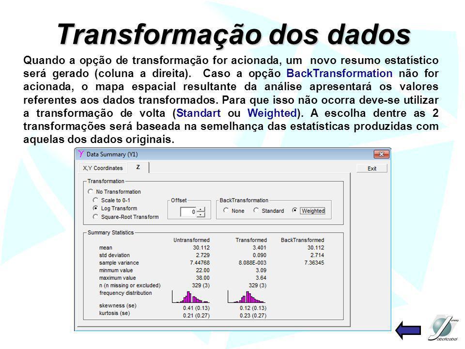 Transformação dos dados