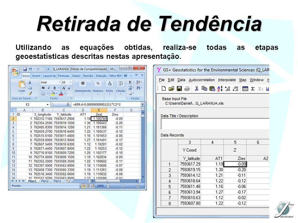 Retirada de Tendência Utilizando as equações obtidas, realiza-se todas as etapas geoestatísticas descritas nestas apresentação.