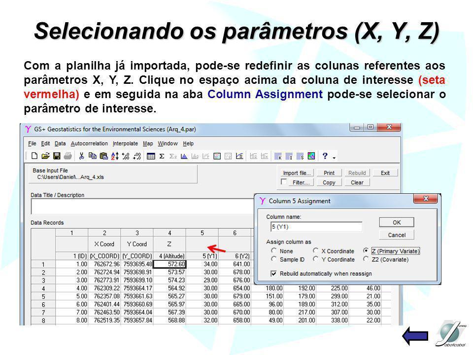 Selecionando os parâmetros (X, Y, Z)
