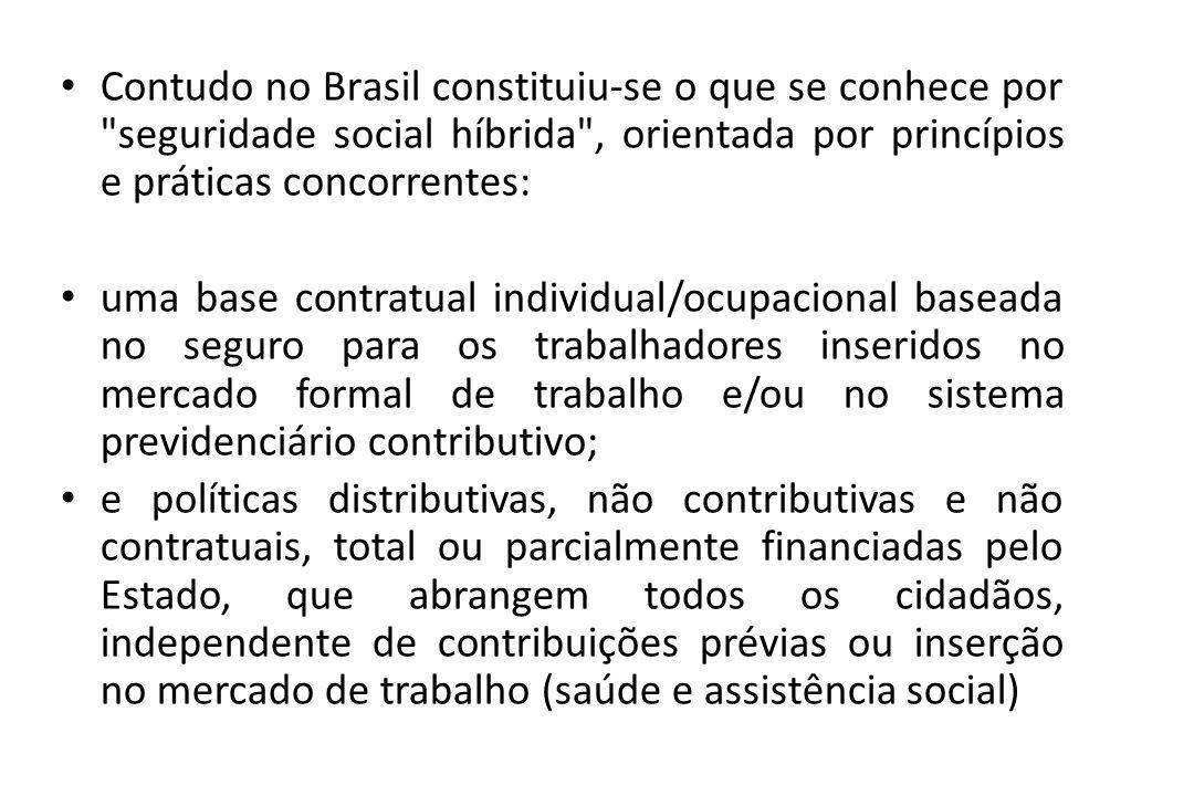 Contudo no Brasil constituiu-se o que se conhece por seguridade social híbrida , orientada por princípios e práticas concorrentes: