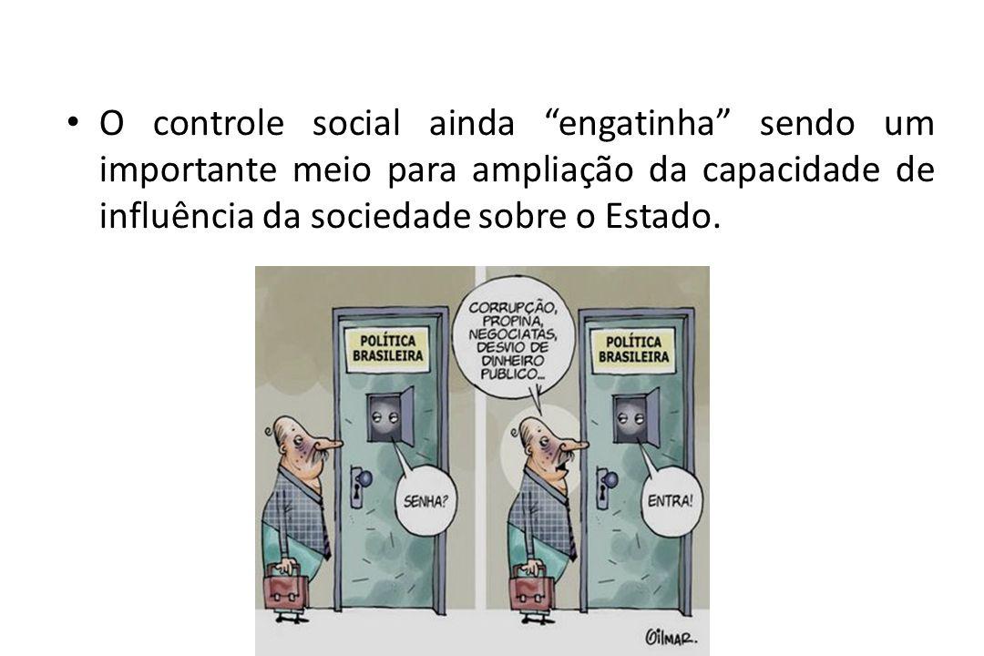 O controle social ainda engatinha sendo um importante meio para ampliação da capacidade de influência da sociedade sobre o Estado.