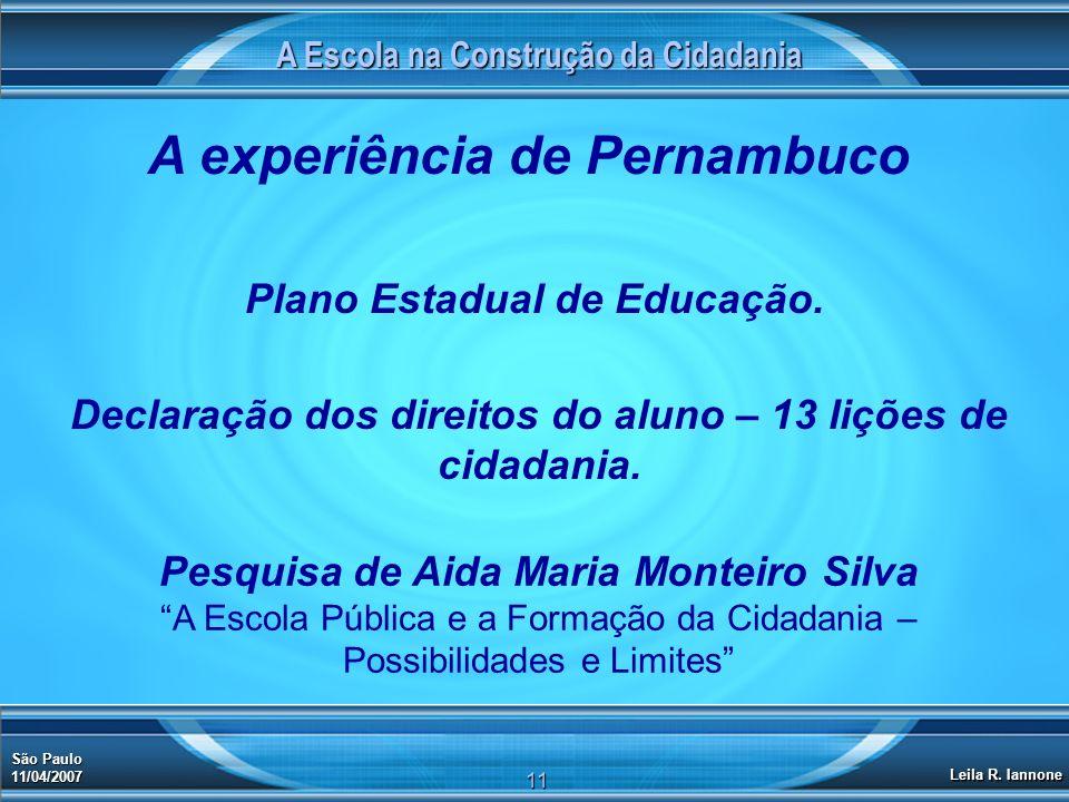 A experiência de Pernambuco