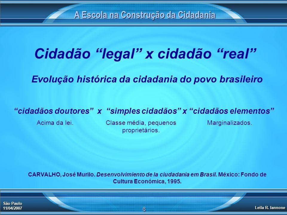 A Escola na Construção da Cidadania Cidadão legal x cidadão real