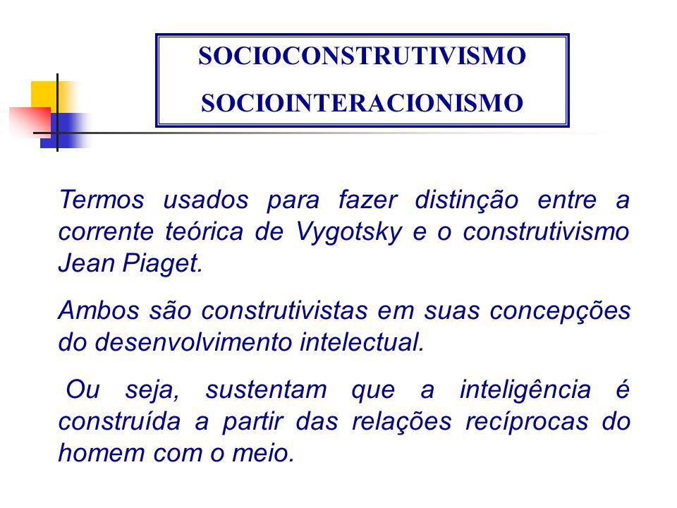 SOCIOCONSTRUTIVISMO SOCIOINTERACIONISMO. Termos usados para fazer distinção entre a corrente teórica de Vygotsky e o construtivismo Jean Piaget.