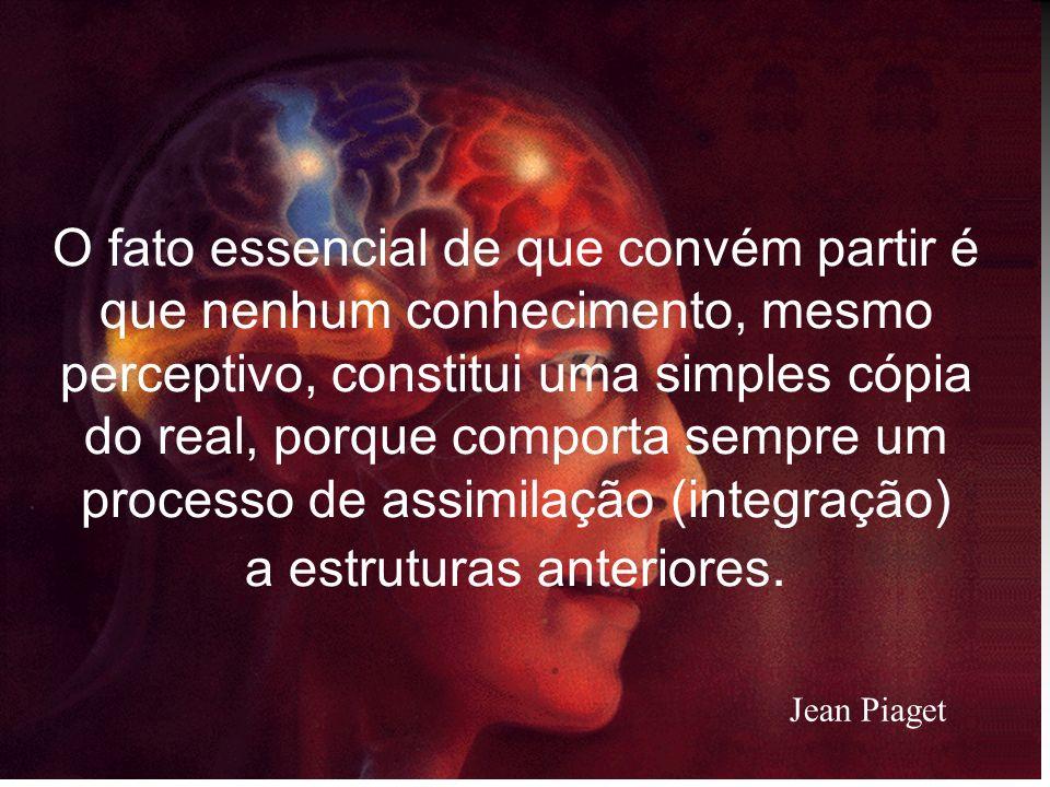 O fato essencial de que convém partir é que nenhum conhecimento, mesmo perceptivo, constitui uma simples cópia do real, porque comporta sempre um processo de assimilação (integração) a estruturas anteriores.
