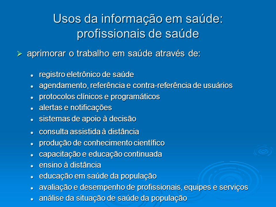 Usos da informação em saúde: profissionais de saúde