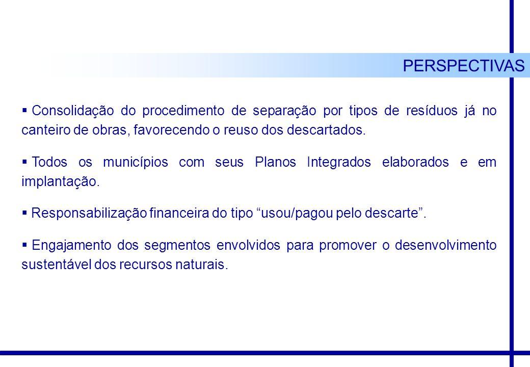 PERSPECTIVAS Consolidação do procedimento de separação por tipos de resíduos já no canteiro de obras, favorecendo o reuso dos descartados.