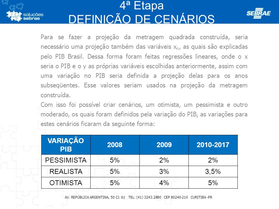 4ª Etapa DEFINIÇÃO DE CENÁRIOS