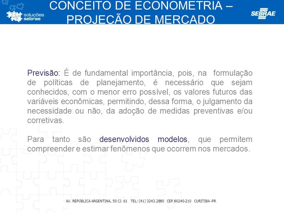 CONCEITO DE ECONOMETRIA – PROJEÇÃO DE MERCADO