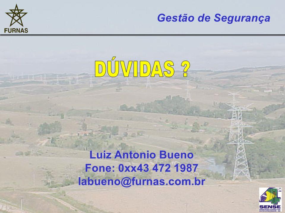DÚVIDAS Gestão de Segurança Luiz Antonio Bueno Fone: 0xx43 472 1987