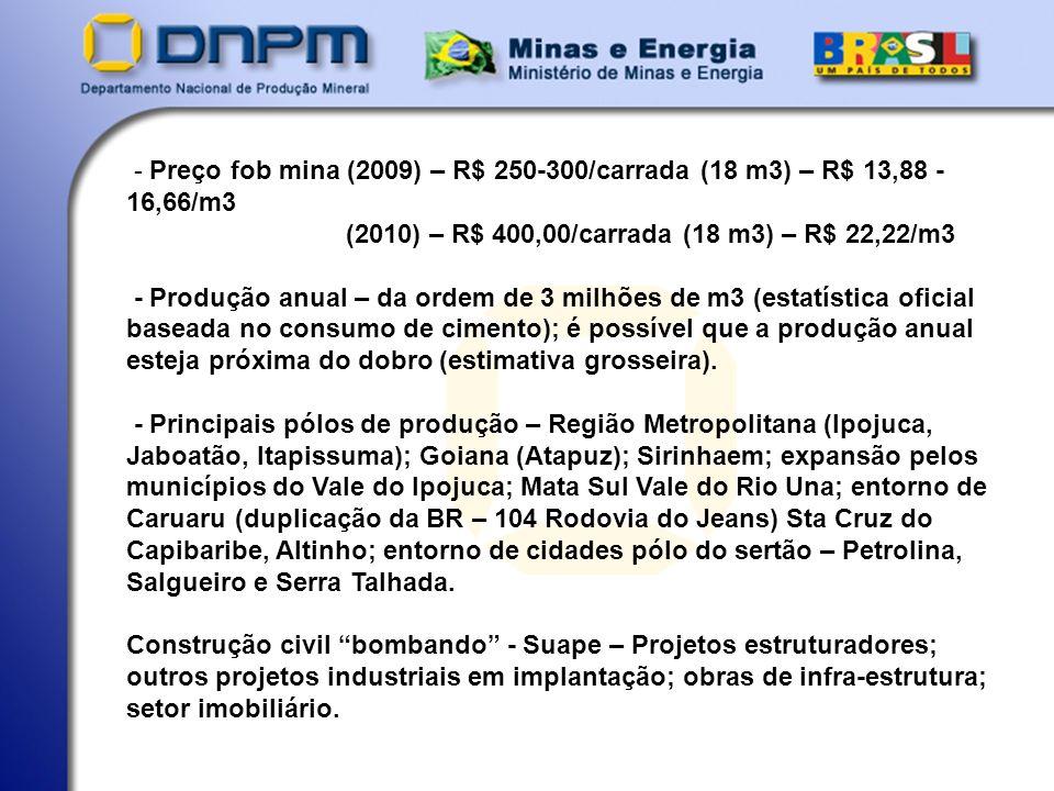 - Preço fob mina (2009) – R$ 250-300/carrada (18 m3) – R$ 13,88 - 16,66/m3