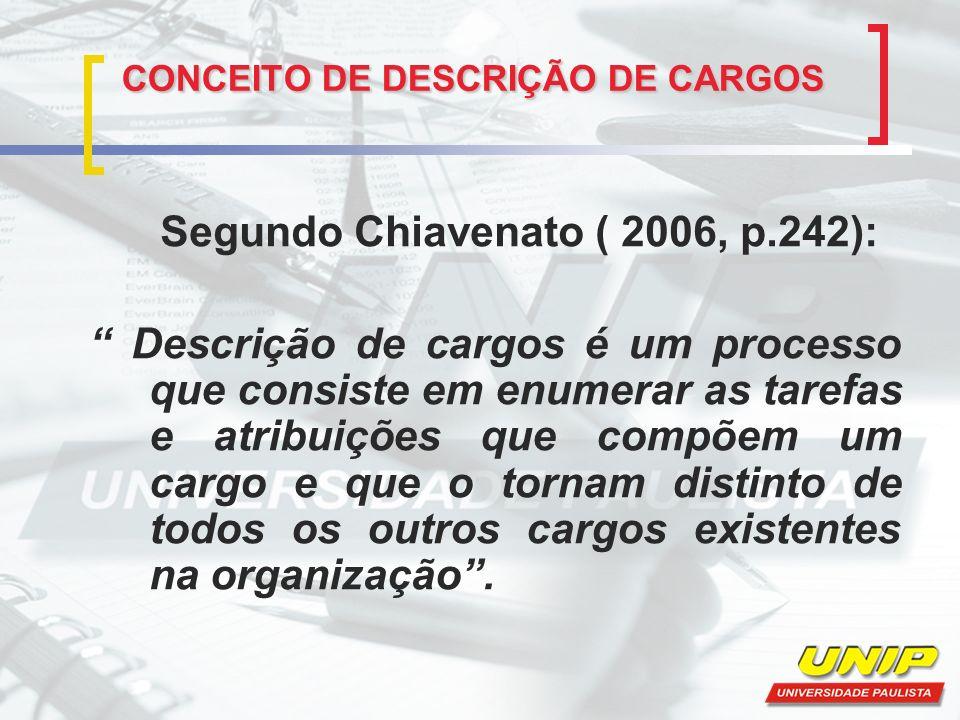 CONCEITO DE DESCRIÇÃO DE CARGOS