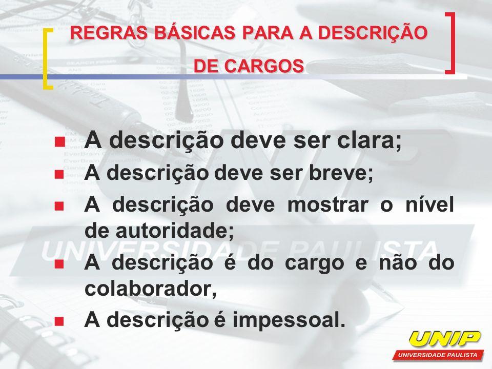 REGRAS BÁSICAS PARA A DESCRIÇÃO DE CARGOS