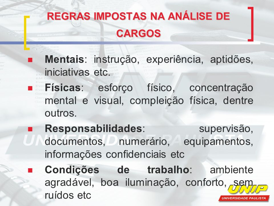 REGRAS IMPOSTAS NA ANÁLISE DE CARGOS