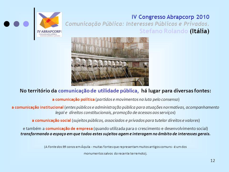 IV Congresso Abrapcorp 2010 Comunicação Pública: Interesses Públicos e Privados. Stefano Rolando (Itália)
