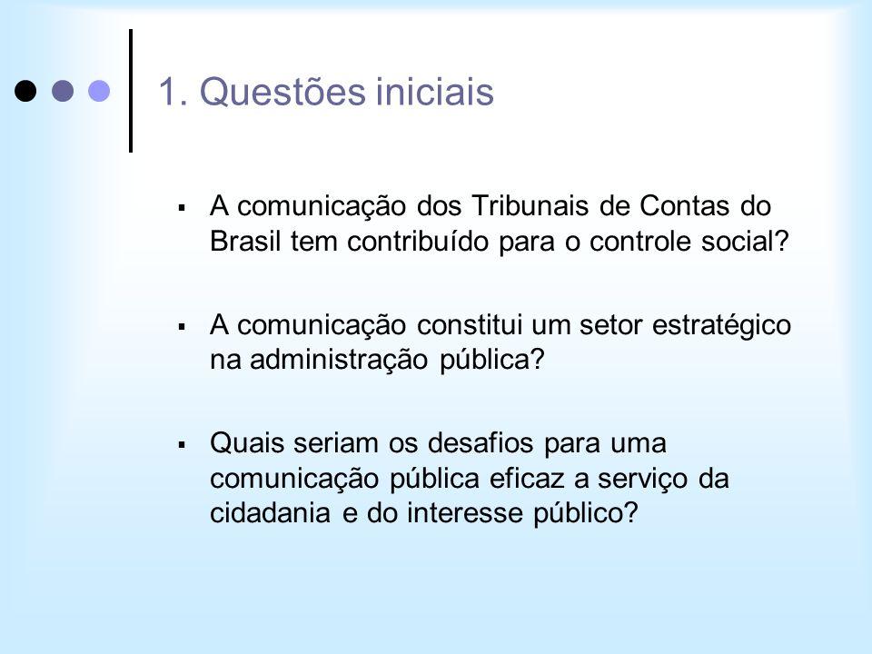 1. Questões iniciais A comunicação dos Tribunais de Contas do Brasil tem contribuído para o controle social