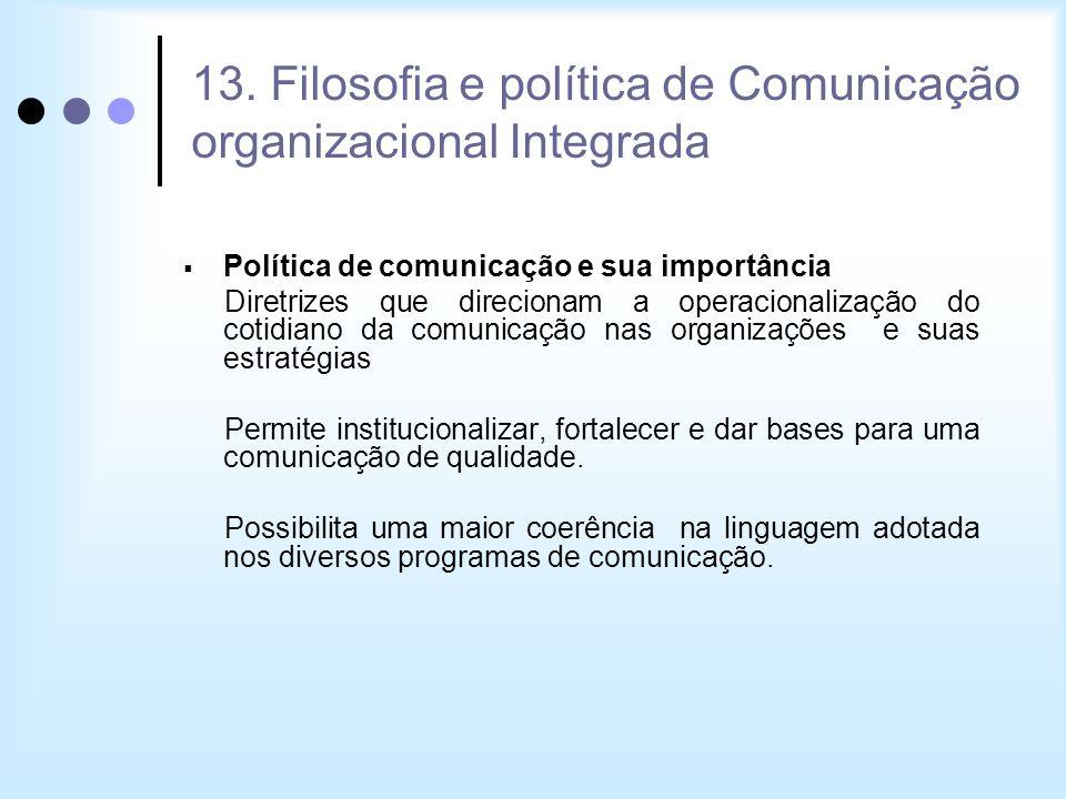 13. Filosofia e política de Comunicação organizacional Integrada