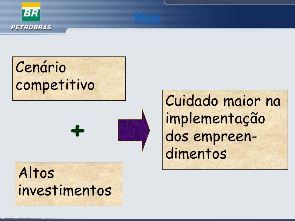 Risco Cenário competitivo Cuidado maior na implementação dos empreen-dimentos + Altos investimentos