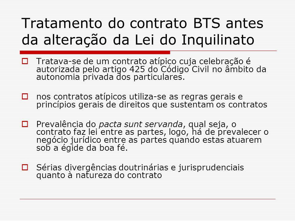 Tratamento do contrato BTS antes da alteração da Lei do Inquilinato