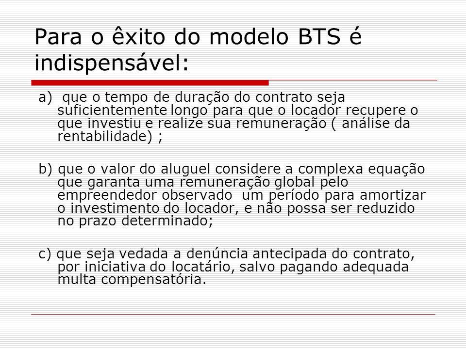 Para o êxito do modelo BTS é indispensável: