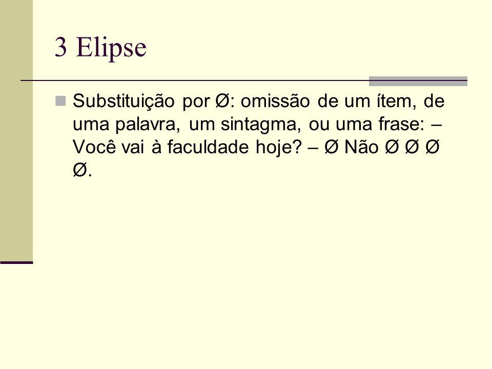 3 Elipse Substituição por Ø: omissão de um ítem, de uma palavra, um sintagma, ou uma frase: – Você vai à faculdade hoje.