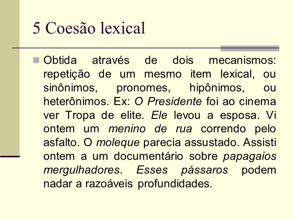 5 Coesão lexical