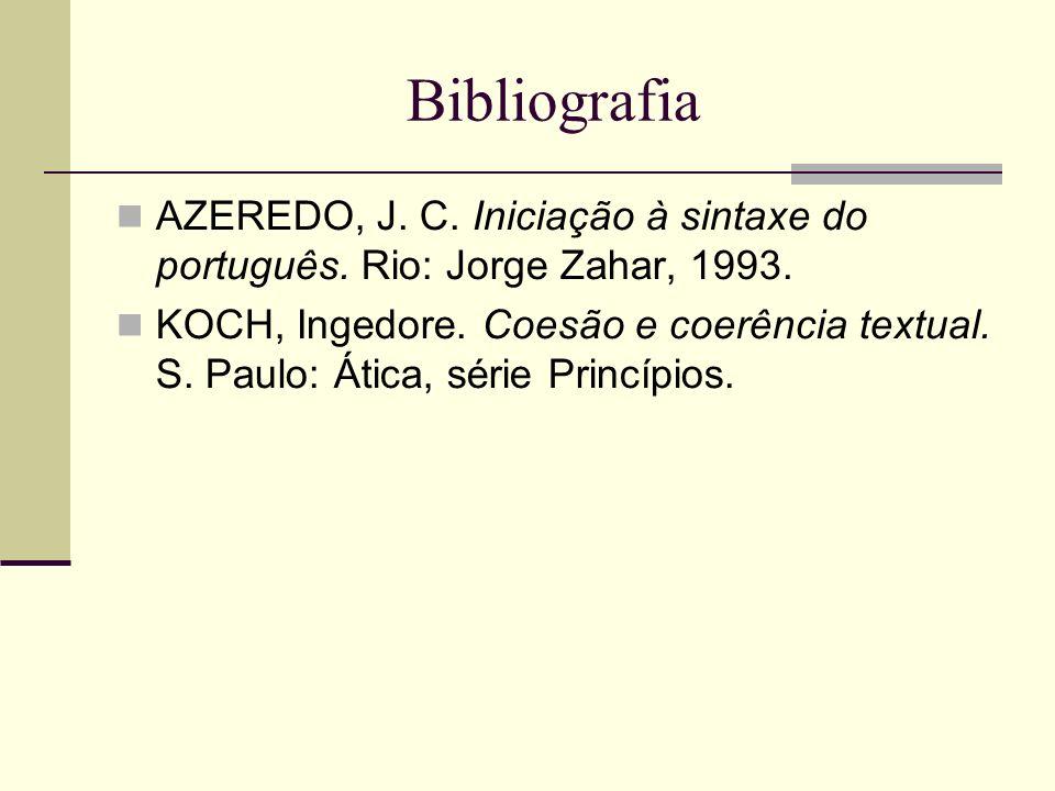 Bibliografia AZEREDO, J. C. Iniciação à sintaxe do português. Rio: Jorge Zahar, 1993.