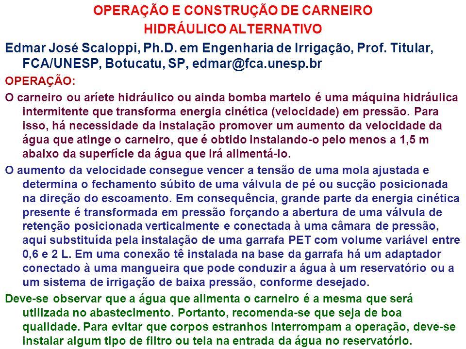 OPERAÇÃO E CONSTRUÇÃO DE CARNEIRO HIDRÁULICO ALTERNATIVO