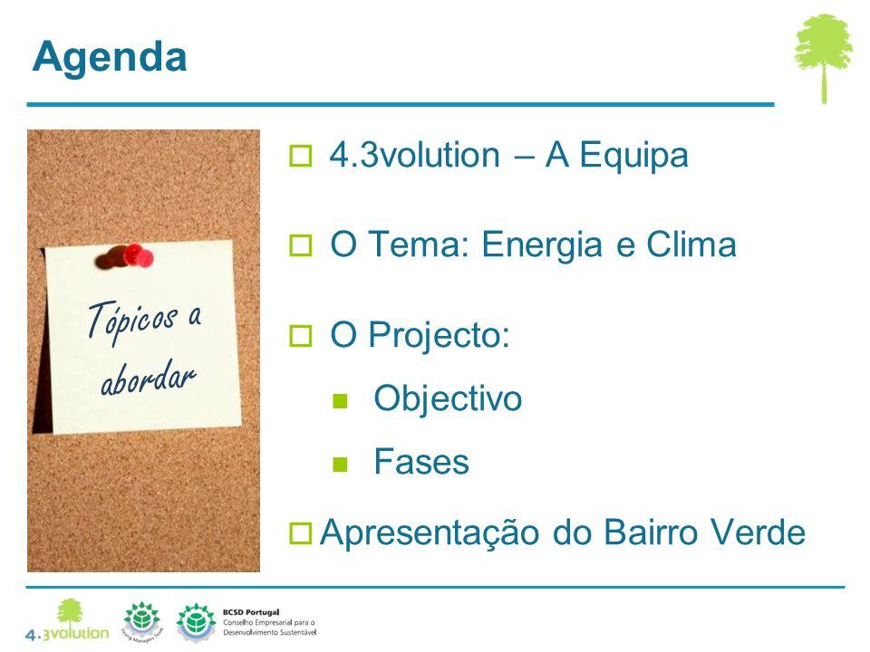 Tópicos a abordar Agenda 4.3volution – A Equipa