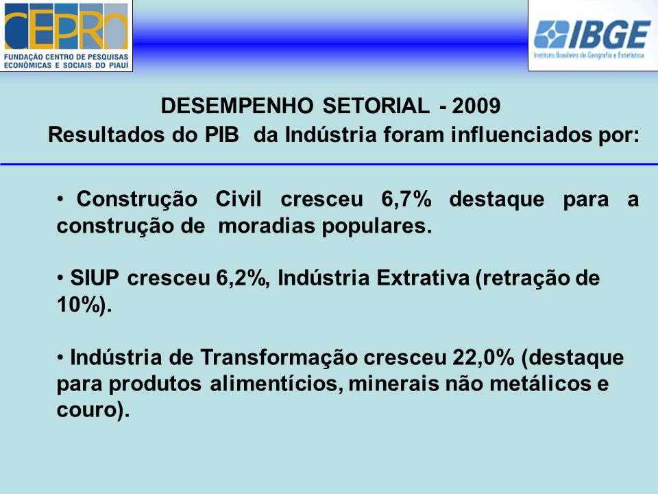 Resultados do PIB da Indústria foram influenciados por: