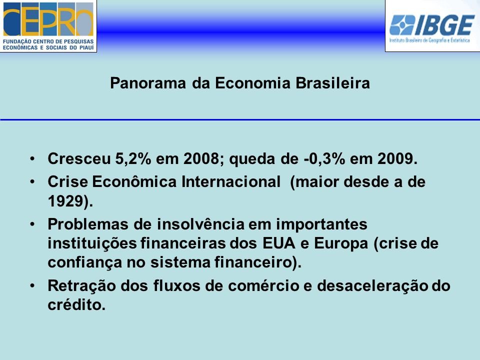 Panorama da Economia Brasileira