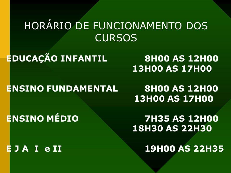 HORÁRIO DE FUNCIONAMENTO DOS CURSOS