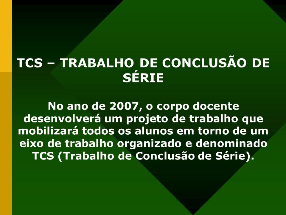 TCS – TRABALHO DE CONCLUSÃO DE SÉRIE No ano de 2007, o corpo docente