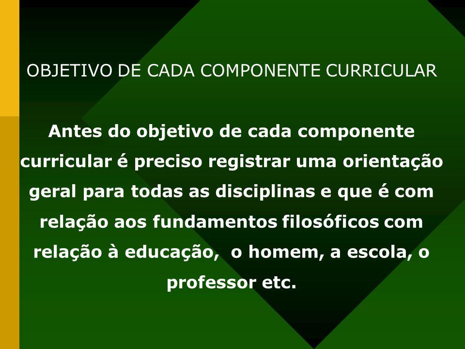 OBJETIVO DE CADA COMPONENTE CURRICULAR