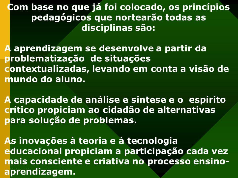 Com base no que já foi colocado, os princípios pedagógicos que nortearão todas as disciplinas são: